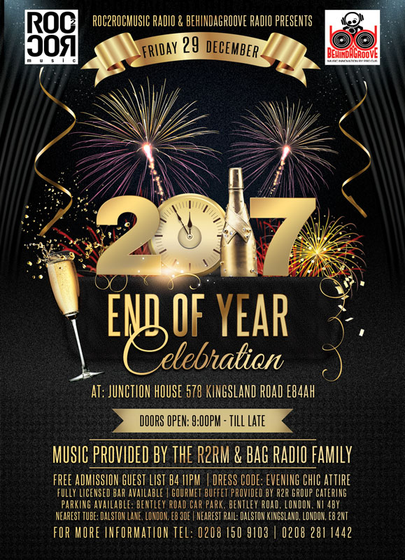 ROC2ROCMUSIC RADIO & BEHINDAGROOVE RADIO Presents The End Of Year Celebration 2017